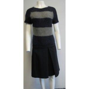 SPORTMAX CODE navy grey faux- 2 piece dress sz M